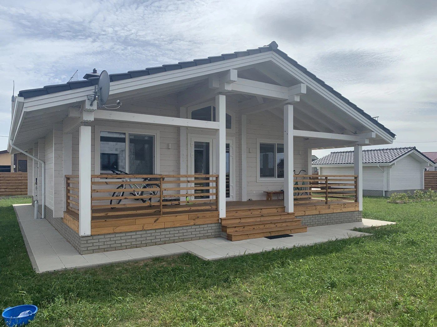 Wooden house construction in Minsk, Belarus
